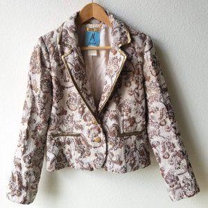 Paul Marciano Beige Gold Brocade Blazer Jacket 10